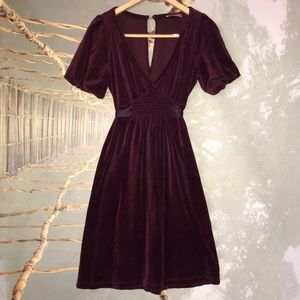 Juicy Couture Velour Dress Bubble Sleeves V Neck